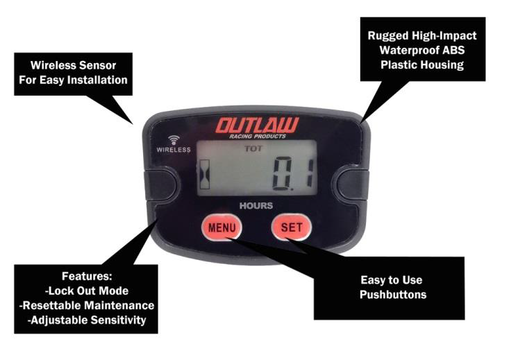 Hour Meters For Equipment : Outlaw racing products introduces wireless engine hour