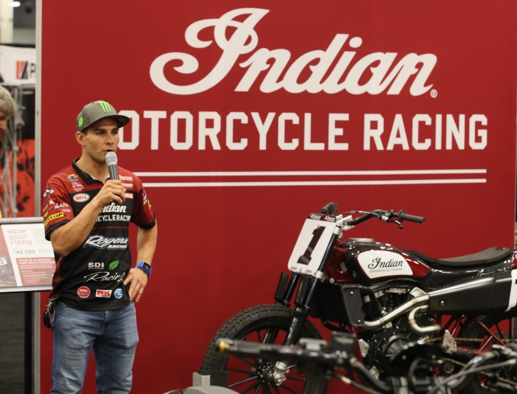 Jared Mees shows off the new Indian Scout at AIMExpo